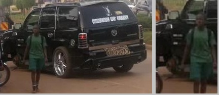 Bobi Wine's Escalade by the roadside after a tire rolled off