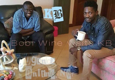 Bobi Wine sips teas as Besigye looks on