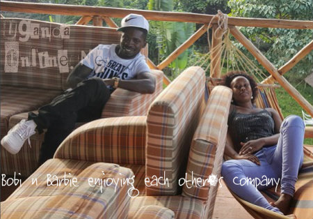Bobi Wine and Barbie at a camp site on Entebbe-Kampala road
