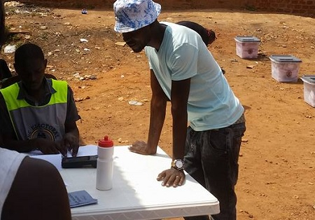 Bobi Wine casting his vote