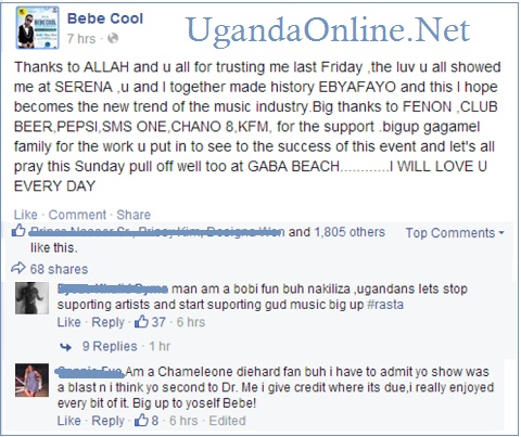 Bebe Cool's thank you note