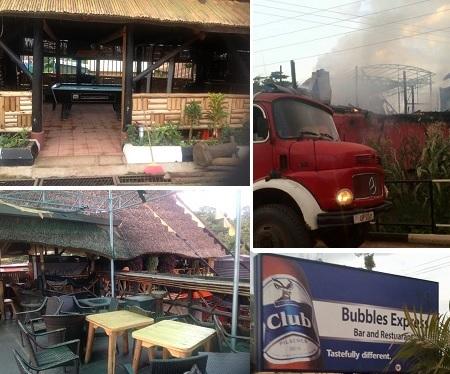 Bubbles Bar on Entebbe road destroed by fire