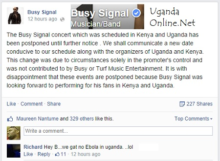 Busy Signal show cancelled