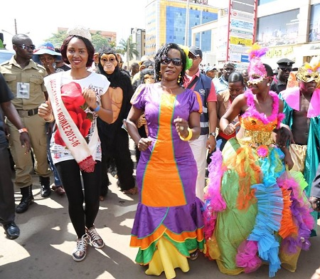 Miss Kampala Royale and KCCA's ED Jennipher Musisi at the carnival