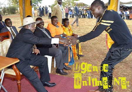 Chameleone and President in Bugiri District