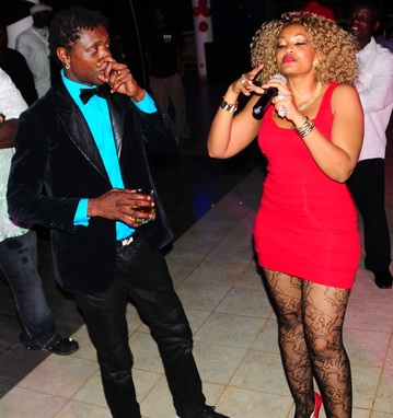 Chameleone looks at Zari performing