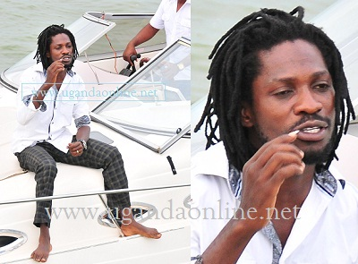 Bobi Wine during the test ride of the mini yacht.
