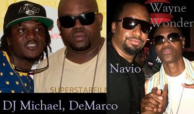 DJ Michael with DeMarco as Navio poses with Wayne Wonder