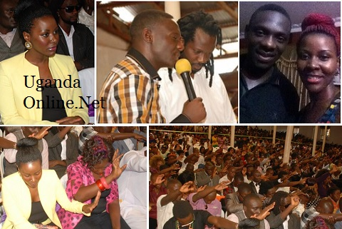 Desire Luzinda and Bebe Cool at Pr. Bugembe's church and inset is Pr. Bugembe at Desire's home