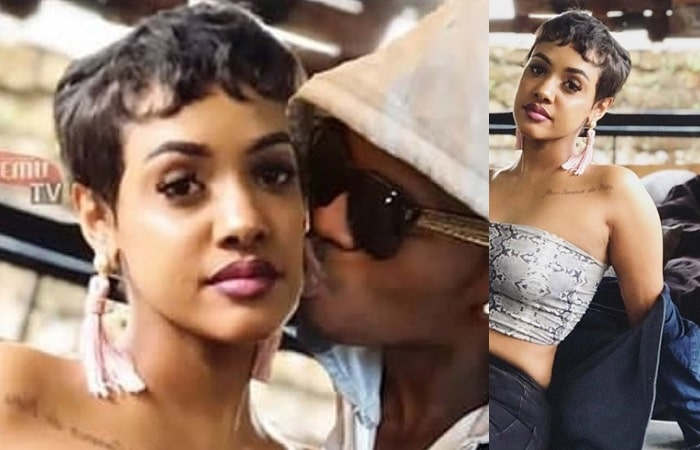 Diamond Platnumz planting a hot one on his lover, Tanasha Donna