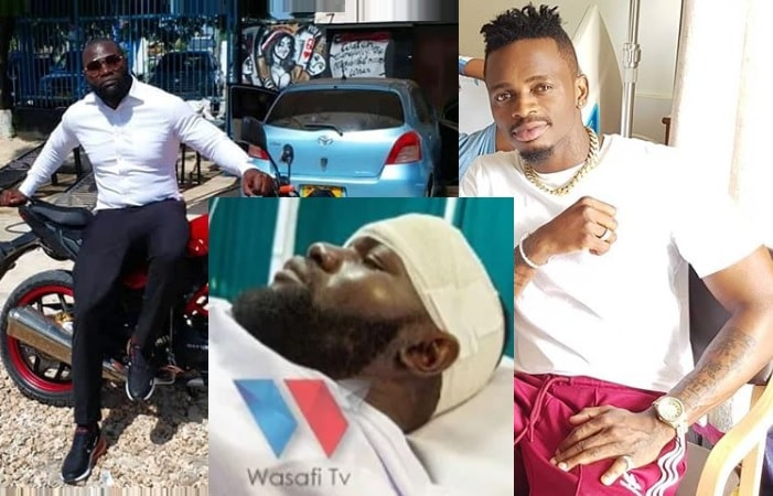 Diamond Platnumz and his body guard survive accidents, Mwarabu nursing skull injuries