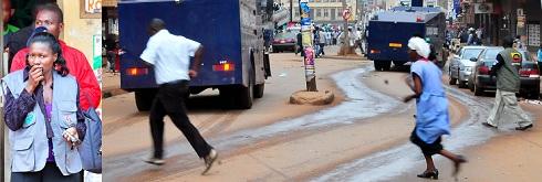 Running battles on Dastur Street yesterday