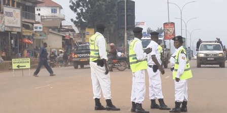 Traffic officers on Entebbe road