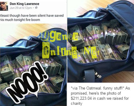 King Lawrence's fake dollar duffnel bag