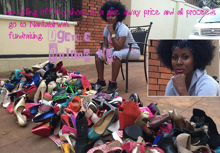 Desire Luzinda selling off her shoes to donate to charity