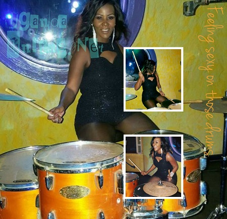 Desire Luzinda trying out the drums