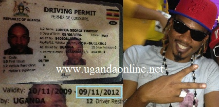 Exodus showing off his expired driving permit
