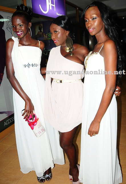 Judith Heard(R) models in one of the pieces at the boutique