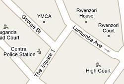 Google Maps showing Kampala City