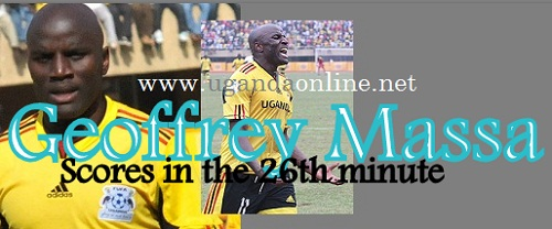 Geoffrey Massa scores the first goal for Uganda Cranes