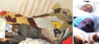 Mukisa in a lodge lying unconscious and inset is Suzan Nampijja and the two girls who were sliced
