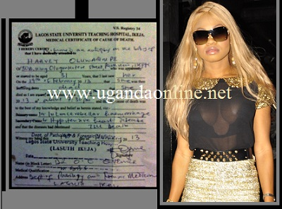 The Late Goldie Harvey and inset is the autopsy report