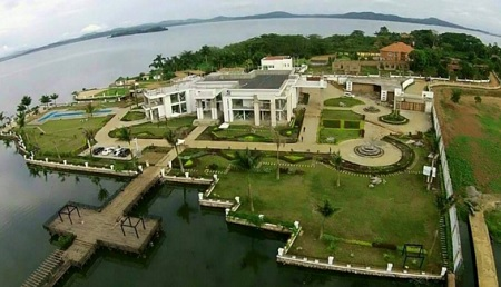 Aerial view of Ham Kiggundu's mansion