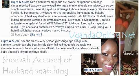 Screen shots of Hijira accusing Sheebah of husband snatching