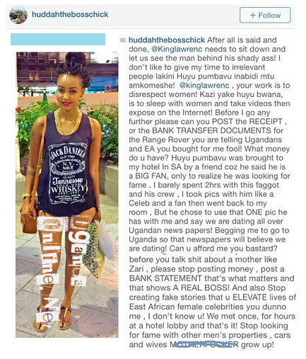 Huddah Monroe's response to King Lawrence