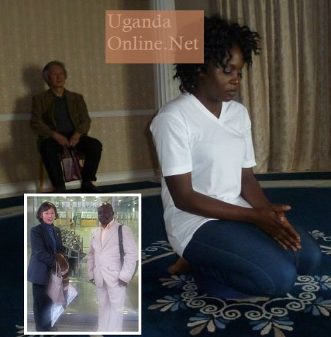 Iryn Namubiru meditating in Japan and inset is her Manager Thaddeus Mubiru.