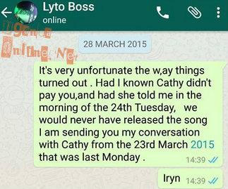 A screen shot of a message between Namubiru and Lyto Boss
