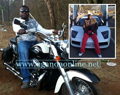 Ivan Ssemwanga on his bike and inset is him seated on his Lamborghin