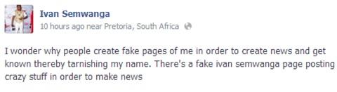 Ivan's post regarding the fake account