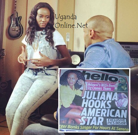 Juliana and Jay Ghartey and inset is the Hello tabloid - 'Juliana Hooks American Star'