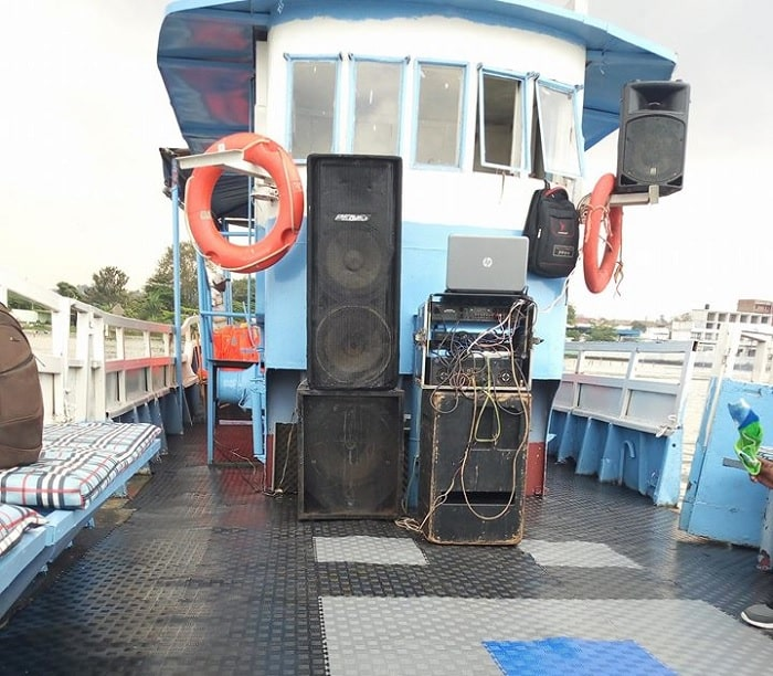 The DJ Box on the capasized boat