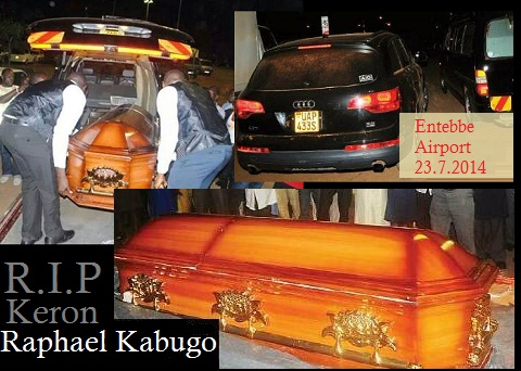 Keron's coffin on arrival at Entebbe airport