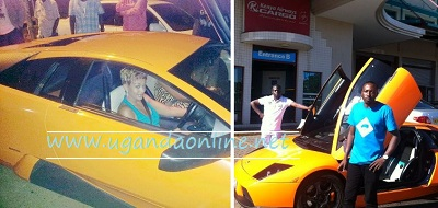 Zari cruising the Lambo in Uganda and inset is Ivan and King after clearing the ride in Kenya