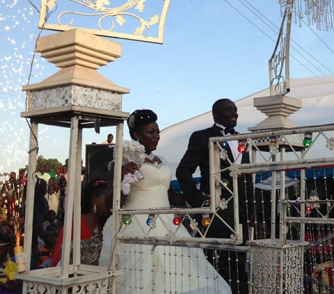 Irene and Geoffrey at the reception venue in Masaka.