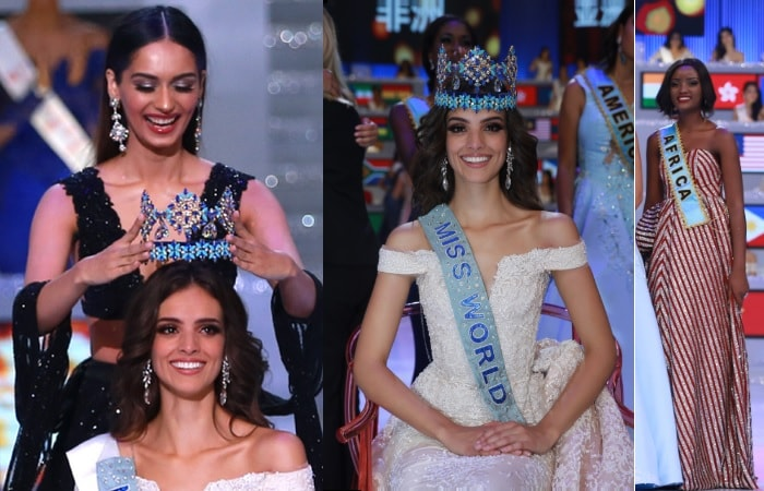 Manushi Chhilar from India crowning Mexican Vanessa Ponce as Quiin Abenakyo looks on