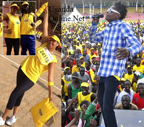 Bebe Cool and Zuena after the race and on right is Chameleone performing