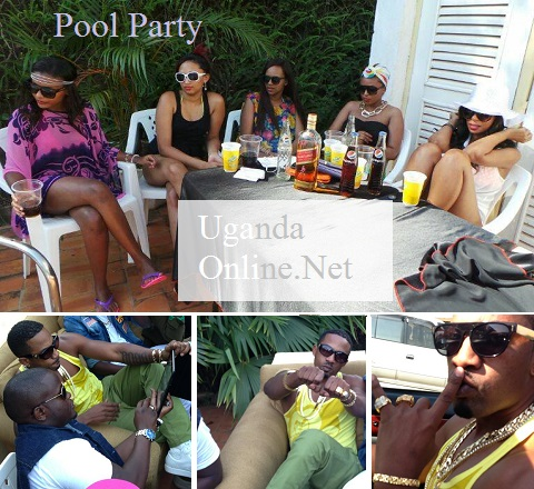 Meddie at the pool party and some of teh babes at the party