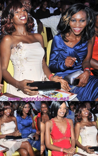 Cindy, Model Meg Lusembo and Salma Nassanga at the Miss Uganda 2011