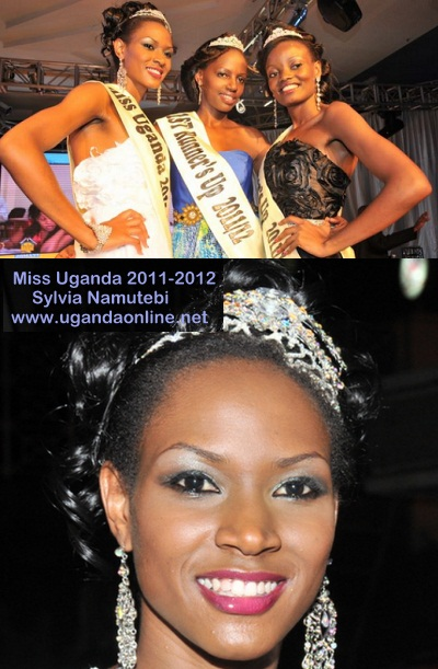 Miss Uganda 2011 Sylvia Namutebi posing before the cameras with the 1st and 2nd runner's up