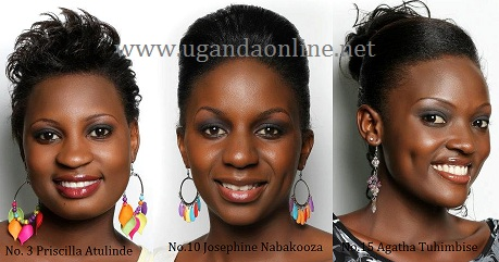 Priscilla Atulinde, Josephine Nabakooza and Agathat Tuhimbise are some of the finalists participating in the Miss Uganda 2012 Finals