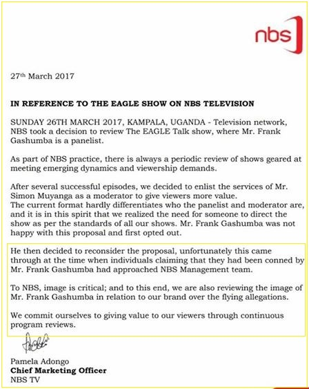 NBS responds to Frank Gashumba issues