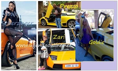 Nicole, Prezzo, Zari and Goldie posing next to a lambo.
