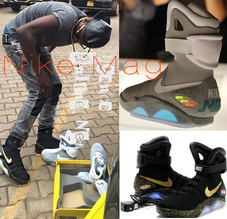 Chameleone showing off his Nike Mag's