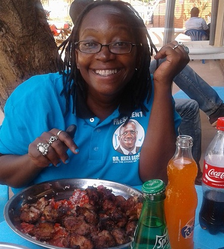 Dr. Stella Nyanzi enjoying some pork ribs