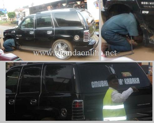 Bobi Wine's Escalade being worked on in Bukoto