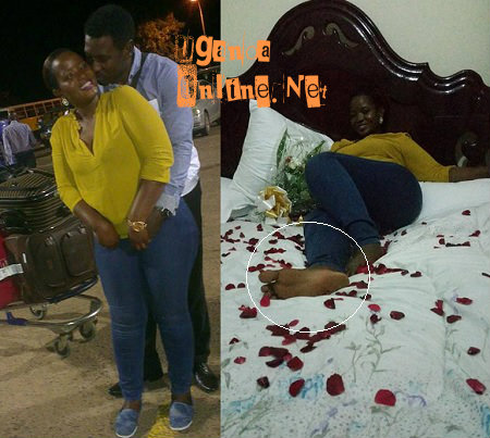 Oyimuke receiving his babe at the aiport and home